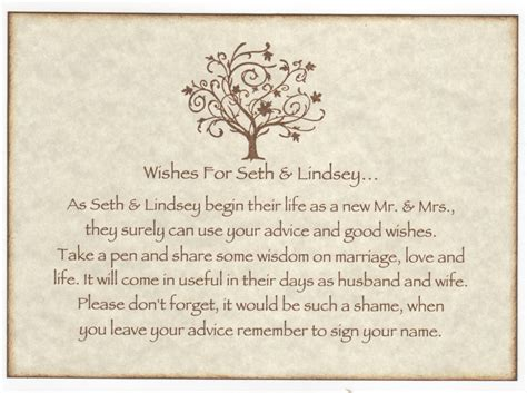 Wedding Wishes And Advice Cards by Wedding Wish Tree Tags Advice Cards Sign