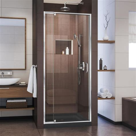 Shower Base And Doors Shop Dreamline Flex 32 In To 36 In Frameless Pivot Shower Door At Lowes