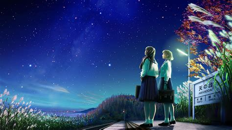 starry night sky girl anime kagaya 936873 walldevil