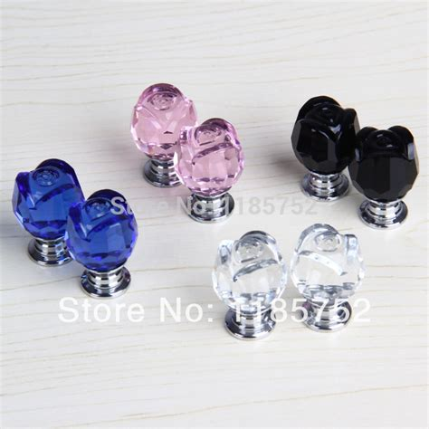 acrylic crystal drawer pulls blue clear pink black 20mm acrylic crystal rose shaped