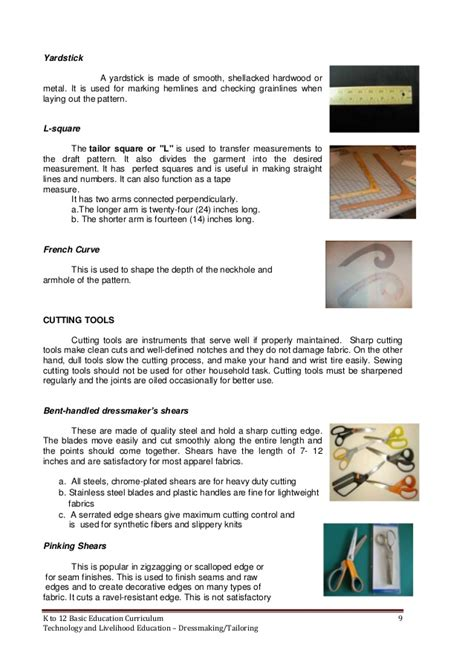 Uses Of L by Dressmaking Learning Module K 12
