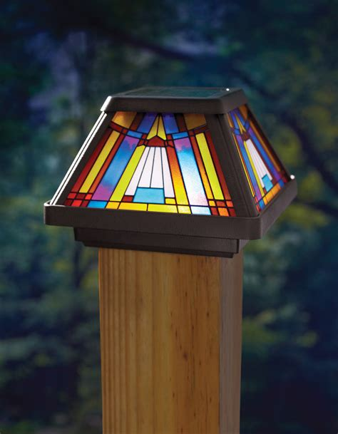OUTDOOR Stained Glass Solar Powered Power LED Post Cap Lamp Yard Path Lighting