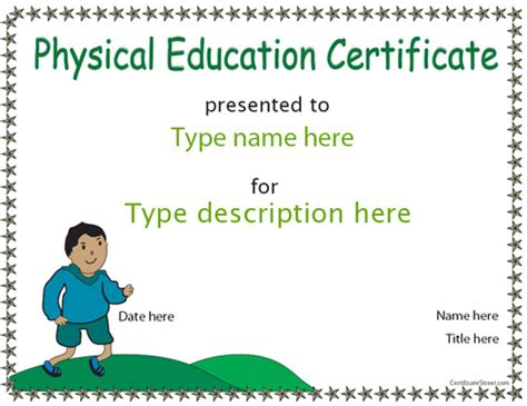 physical education certificates samweiss sports certificates physical education certificate