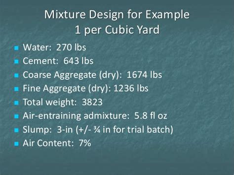 Aggregate Weight Per Cubic Yard Con 124 Session 5 Exles Of Concrete Proportioning