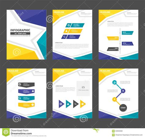 marketing leaflet template yellow green presentation template annual report brochure