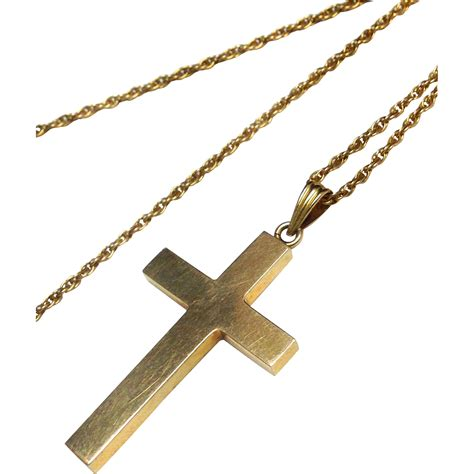 vintage 14k yellow gold cross necklace and chain from