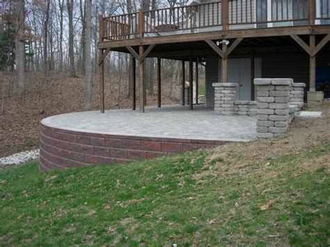 Paver Patio With Retaining Wall Raised Paver Patio Retaining Wall Columns Sitting Wall Kieferlandscaping Cabin