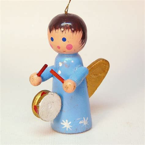 vintage wooden angel w drum ornament christmas