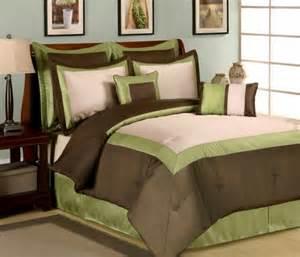8pc green brown beige hotel design comforter set queen ebay