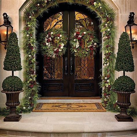 outdoor christmas decor cone and ball topiary christmas decor traditional