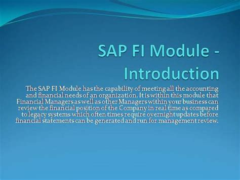 Sap Fi Module Introduction Authorstream Sap Powerpoint Template