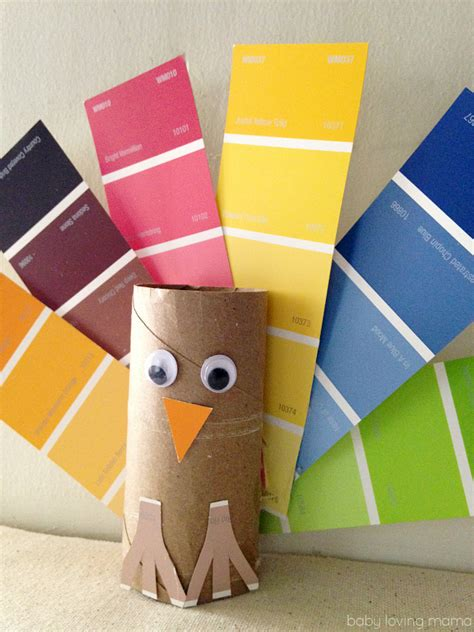 Thanksgiving Crafts With Toilet Paper Rolls - paint chip turkey craft for thanksgiving