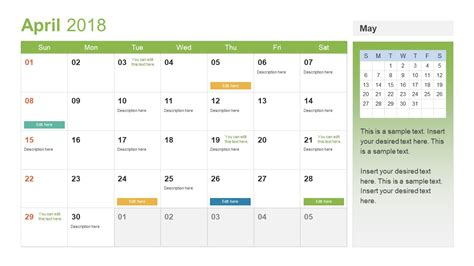 Powerpoint Calendar Template Year 2018 Slidemodel Task Calendar Templates