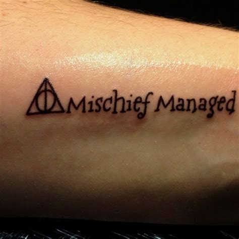 mischief managed tattoo glow in the dark mischief managed harry potter tattoo tattoos pinterest