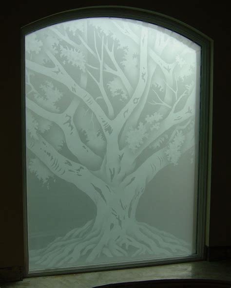 Door Glass Design Oak Tree Glass Window Etched Glass Rustic Design
