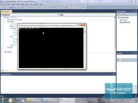 tutorial visual basic console application visual basic 2010 tutorials basic console applications