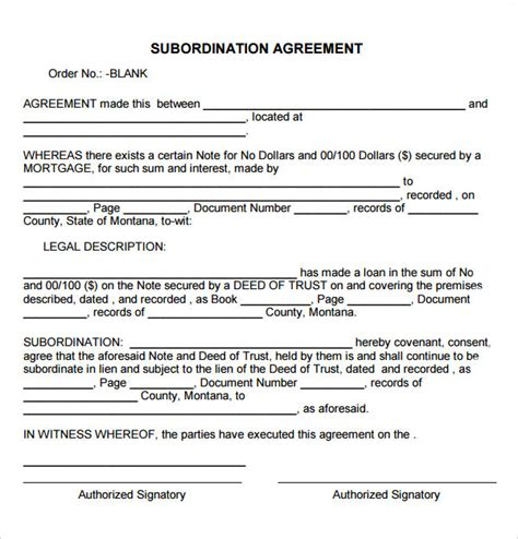 subordination agreement template sle subordination agreement 7 free documents
