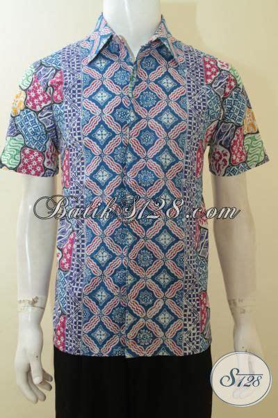 Baju Saat Kerja hem batik trendy lengan pendek baju kerja lelaki muda motif unik busana batik paling