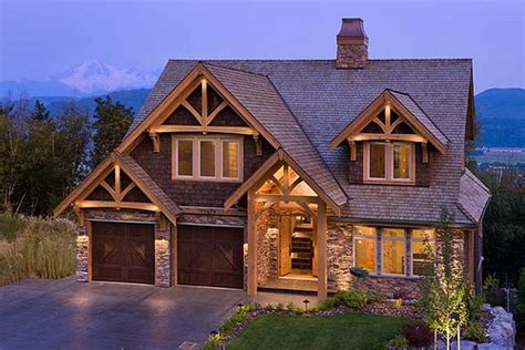 mountain view timber frame home exterior set at the