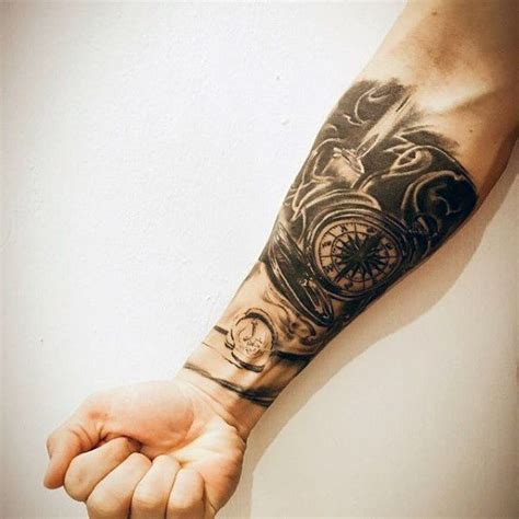 quarter sleeve compass tattoo man with forearm sleeve tattoo of compass and candle flame