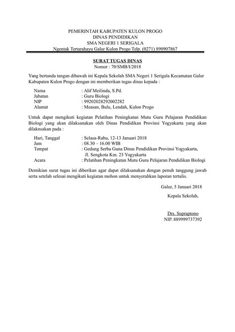 contoh surat tugas dinas yang baik dan terbaru