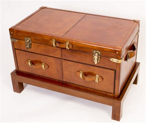 leather caign trunk coffee table luggage