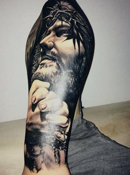 tattoo of jesus holding a man jesus tattoos for men ideas and inspiration for guys