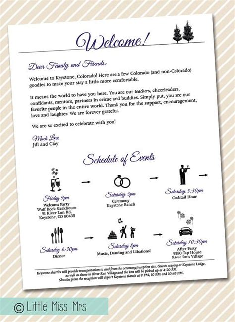 Rent Letters For Wedding Wedding Welcome Letter Timeline Of Events By Littlemissmrs M Em May 2015