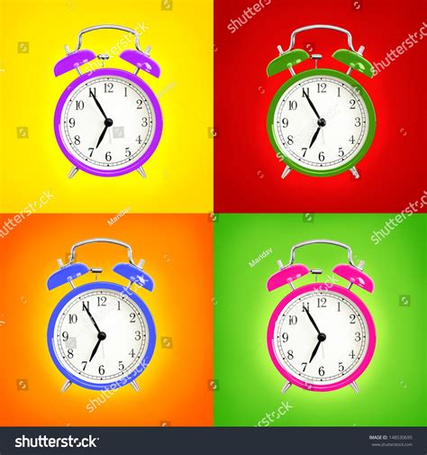 Colorful Clock Green alarm clocks isolated on colorful background stock photo