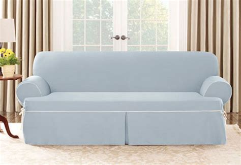 canvas slipcovers for sofas sure fit cotton canvas one piece sofa slipcover sky blue