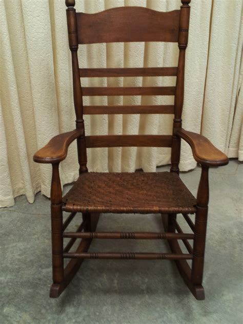 antique maple rocking chair with original split hickory