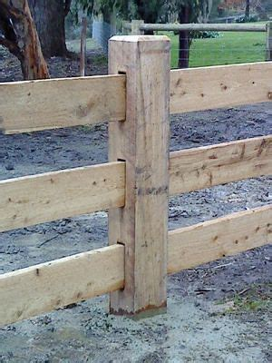 rural timber post  rail  mortice driveway fence