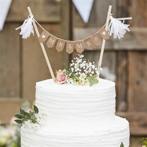 wooden mr and mrs wedding cake bunting decoration by