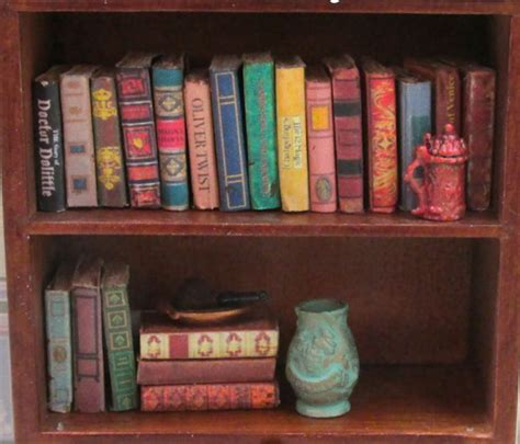 doll house books 21 vintage style miniature books dollhouse 1 12 scale fill bookshelf prop book 1 ebay