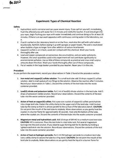 sle formal lab report chemistry sle discussion essay 28 images sle of chemistry lab