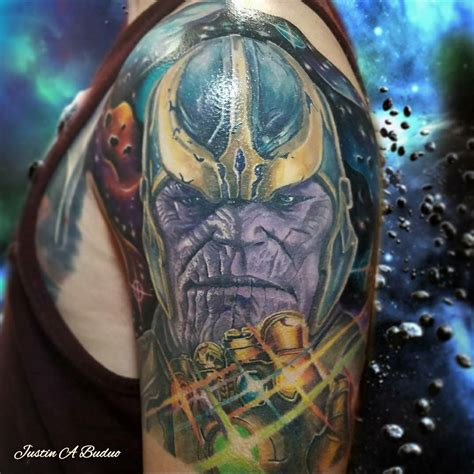 thanos tattoo thanos by justin buduo