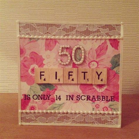 Handmade 50th Birthday Cards - 50th scrabble birthday card my craft