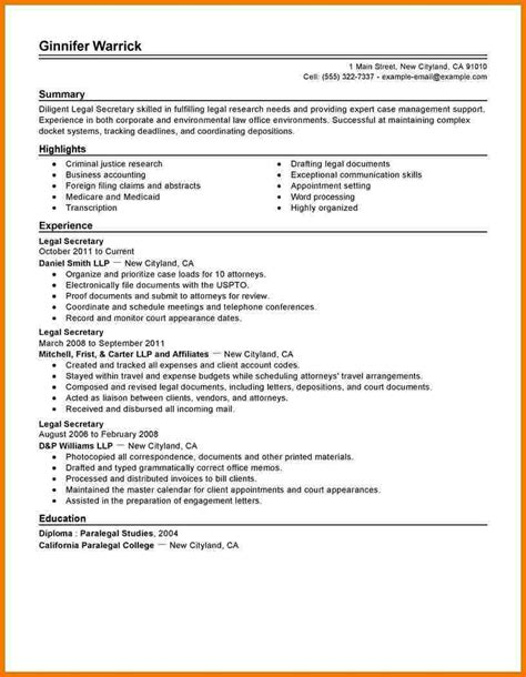 Resume Sample Legal Secretary 8 legal secretary resume assistant cover letter