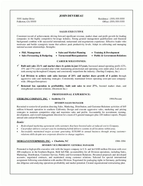 Resume Exles For Managers Position by Sle Resumes Sales Management Resume