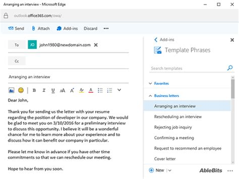 phrasal template template phrases for outlook