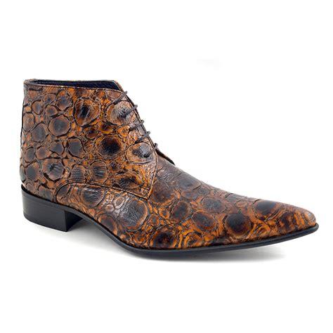 wow in mens funky brown reptile effect boots gucinari
