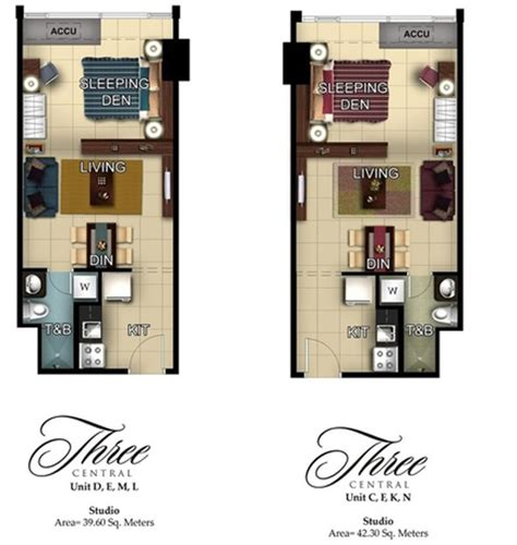 floor plans for units three central makati city condo pre selling makati