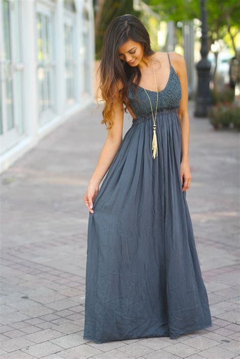 Longdress Maxi Siena midnight navy lace maxi dress with open back and frayed hem beautiful dresses saved by the dress