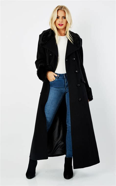 Maxi Coat imogen black faux fur trim maxi coat silkfred