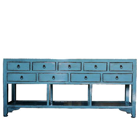 asian style sideboard blue patina distressed 9 drawers sideboard blue by home elements