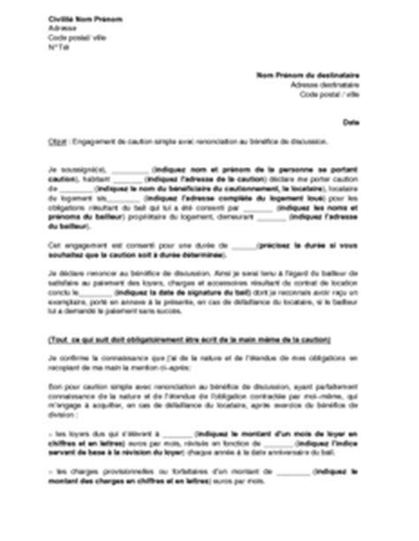 Modèles De Lettre D Engagement Gratuit Mod 232 Le De Lettre D Engagement De Caution Pour Le Paiement Des Loyers Renonciation Au B 233 N 233 Fice