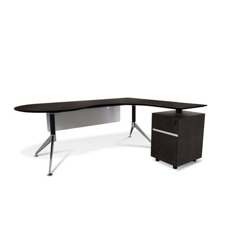 Built In L Shaped Desk by Teardrop L Shaped Espresso Executive Desk With Built In