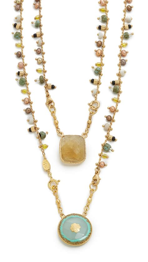 lyst gas bijoux scapulaire serti necklace in orange