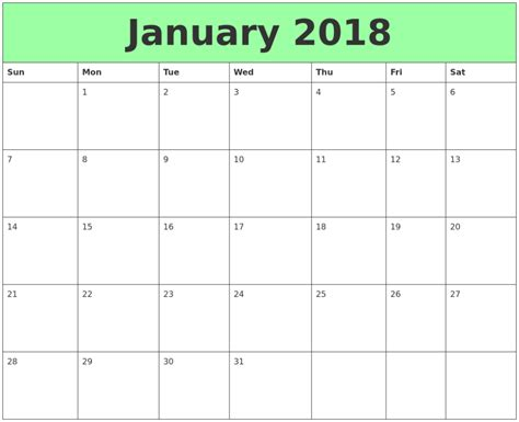 printable calendar for january 2018 january 2018 calendar template calendar template letter