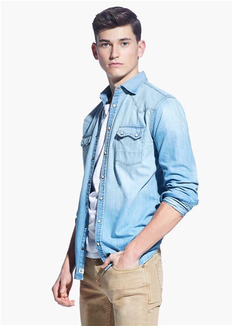 light denim shirt mens light blue slim fit bbg clothing